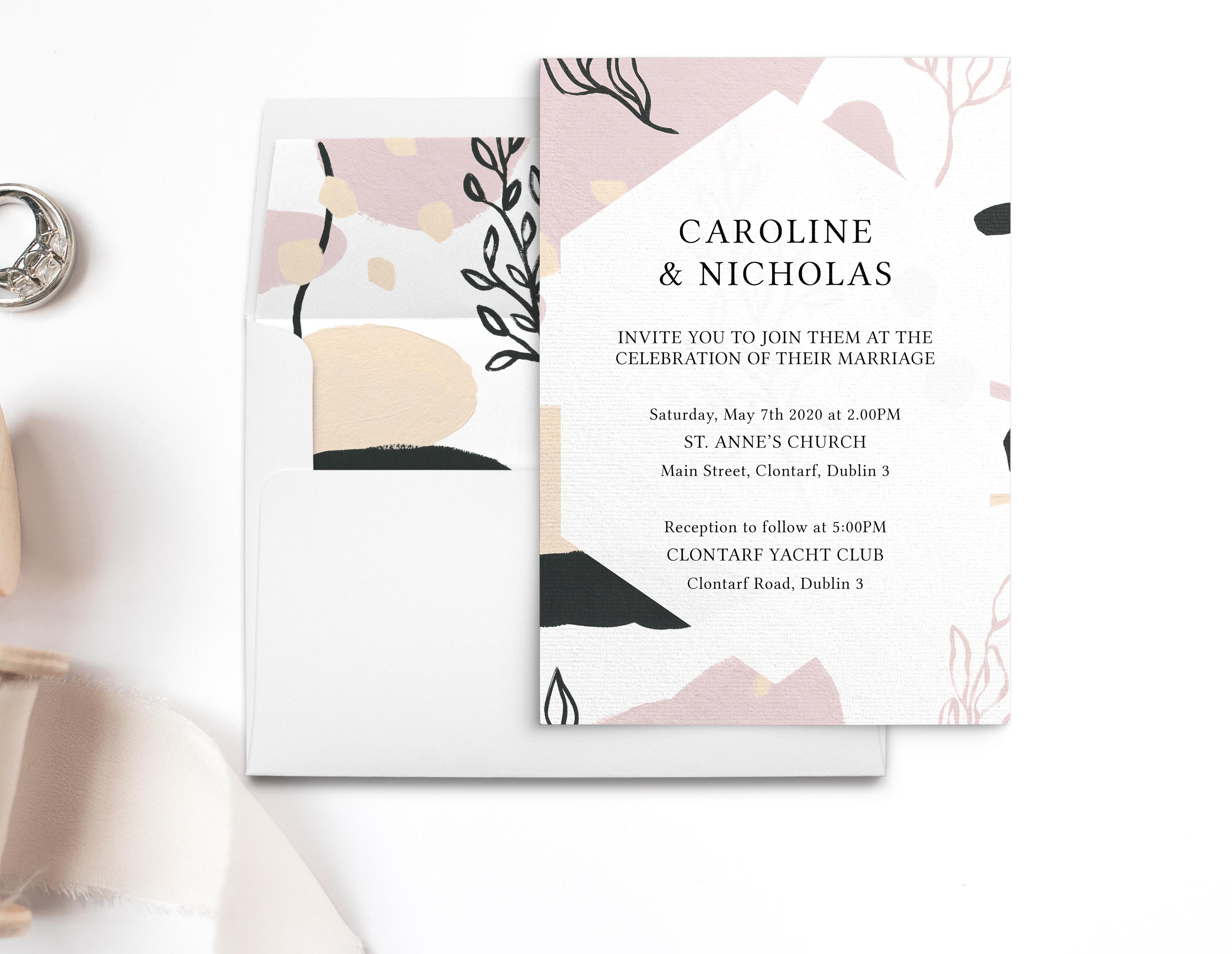 Modern Wedding Invitations With Pink Hues Hello Snowflake